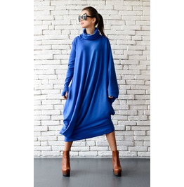 Blue Maxi Dress/Oversize Loose Dress/Blue Kaftan/Long Sleeve Dress