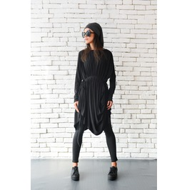 Black Loose Top/Long Sleeve Tunic/Extravagant Black Shirt/Black Casual Top
