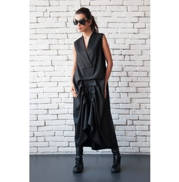 Black Maxi Dress/Asymmetric Sleeveless Kaftan/Long Loose Dress/V Neck Top