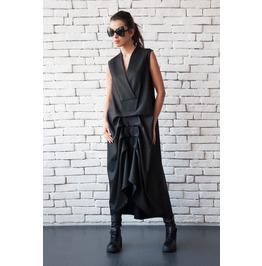 Black Maxi Dress/Asymmetric Sleeveless Kaftan/Long Loose Dress/V Neck Top
