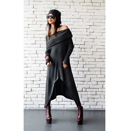 Dark Grey Loose Tunic/Extravagant Casual Top/Comfortable Tunic Dress