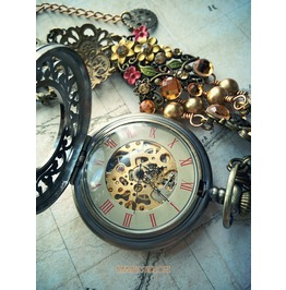 Steampunk Victorian Short Necklace, Real Mechanical Watch. Fall Colors.