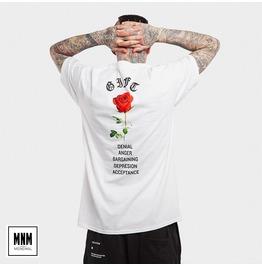 Men's Rose Printed Round Neck Cotton T Shirt