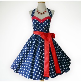 Bunny Vintage Blue And White Polka Dot 50s Pin Up Rockabilly Swing Dress