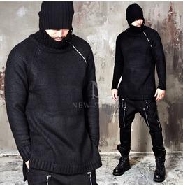 Long Diagonal Zipper Accent Black Knit Sweater 41
