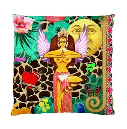Funky Goddess With Wings And Vintage Moon And Love Heart Cushion Cover