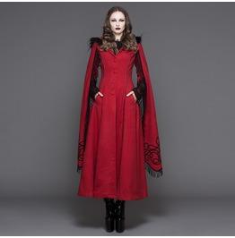 Women's Gothic Lolita Faux Fur Trim Lace Up Outerwear Long Tunic Coat 02402