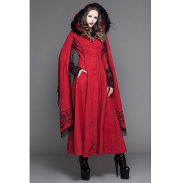 Women's Gothic Lolita Faux Fur Trim Lace Up Outerwear Long Tunic Coat 02402