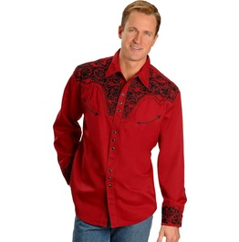 Scully Western Black Floral Embroidery Red Cowboy Pearl Snap Shirt