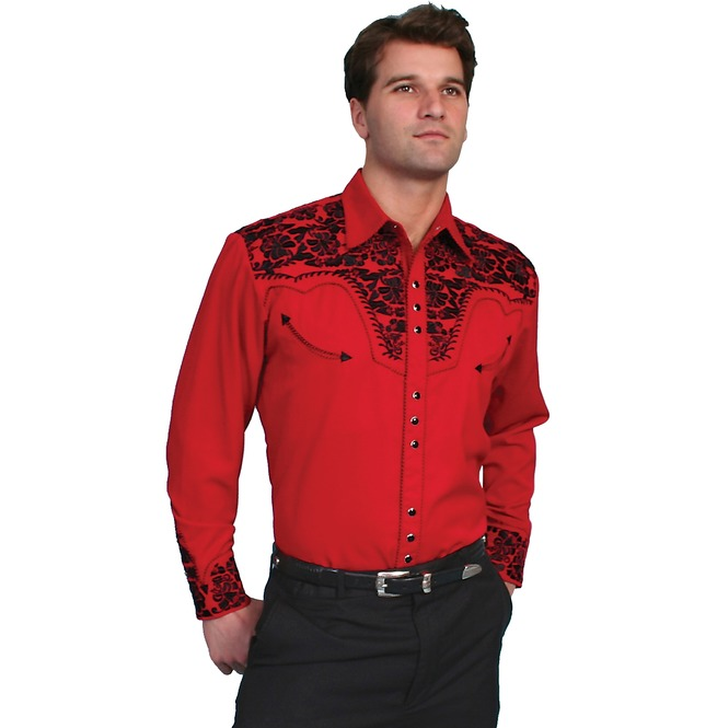 rebelsmarket_scully_western_black_floral_embroidery_red_cowboy_pearl_snap_shirt_shirts_2.jpg