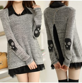 Punk Skull Cutout New Women Sweater Pullover Winter