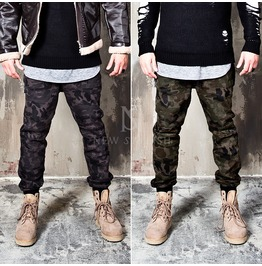Masculine Camouflage Drawcord Banded Hem Pants 125