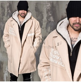 Multiple Safety Pin Attached Lettering Wide Coat 119