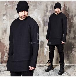 Shoulder Zipper Accent Distressed Asymmetric Black Shirts 632