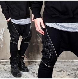 Diamond Pattern Leather Contrast Black Baggy Sweatpants 227