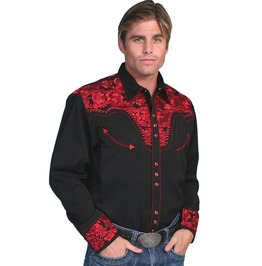 Scully Western Tomato Red Embroidery Black Pearl Snap Cowboy Shirt