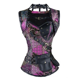 Women's Steampunk Floral Lace Spiral Steel Boned Retro Corset Tops Bustier