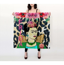 Funky Frida Kahlo With Wings, Flowers And Leopard Print Silk Habotai Scarf
