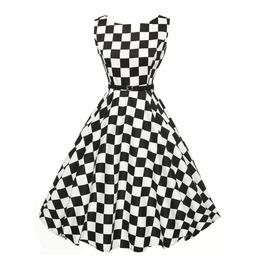 Retro Vintage Sleeveless Black And White Checkered Dress