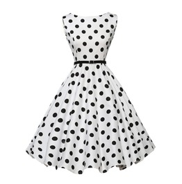 Retro Vintage Sleeveless Black And White Polka Dress