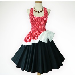 Fantastic Dreams Vintage Red Polka Dot 50s Pin Up Rockabilly Swing Dress