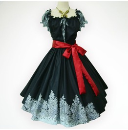 Vintage Black Roses 50s Pin Up Rockabilly Swing Dress