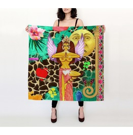 Funky Goddess With Wings And Vintage Moon And Love Heart Silk Habotai Scarf