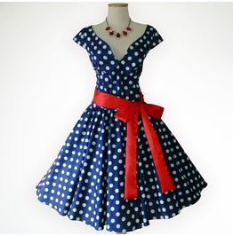 Joyful Blue & White Polka Dot 50s Pin Up Rockabilly Swing Dress