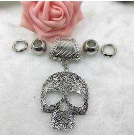 Silver Scarf Ring Pendant ~ Skull