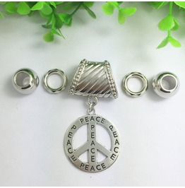 Silver Scarf Ring Pendant ~ Peace Symbol