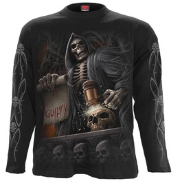 New Black Longsleeve Reaper Skulls Skeleton Undead T Shirt
