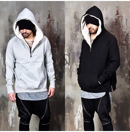 Lamb Wool Lining Accent Side Incision Zipper Hoodie 113