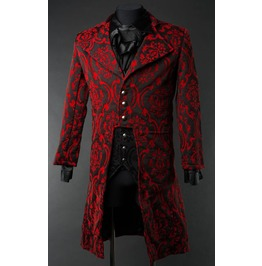 Mens Red Black Brocade Victorian Gentleman Tailcoat