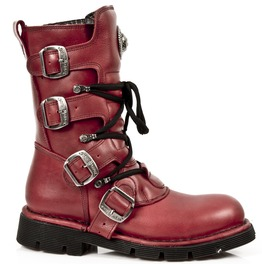 New Rock Shoes Red Mid Calf Lace Up Boots