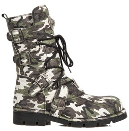 New Rock Shoes Vintage Flower Camouflage Leather Boots