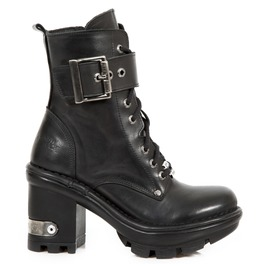 New Rock Shoes Ladies Black Neotyre Ankle Boots