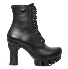 New Rock Sheos Black Neopunk Razor Blade Ankle Boots
