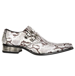 New Rock Shoes Mens White Snake Print Newman Leather Shoes