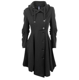 Single Breasted Asymmetric Black Coat
