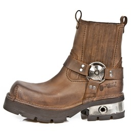 New Rock Shoes Brown Venture Aviator Neobiker Leather Boots