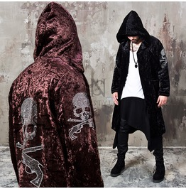 Stud Skull Accent Velvet Hood Long Coat 121