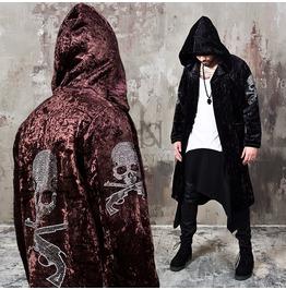 Stud Skull Accent Velvet Hood Long Coat 121