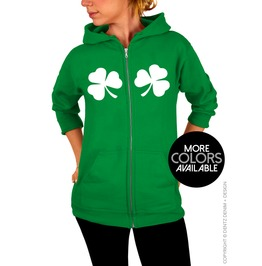 Chest Clovers, Adult Unisex Zip Up Hoodie Sweatshirt