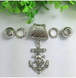 Silver Scarf Ring Pendant ~ Skull & Anchor