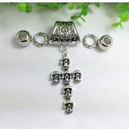 Silver Scarf Ring Pendant ~ Skull & Cross