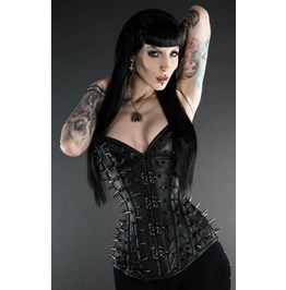 Steel Boned Black Leather Spike Clasp Overbust Corset $6 Worldwide Shipping