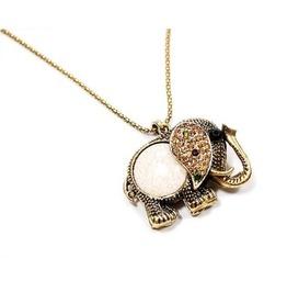 Vintage Rhinestone Elephant Necklace