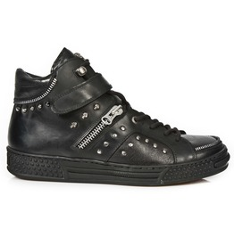 New Rock Shoes Men's Black Urban Studded Shoes