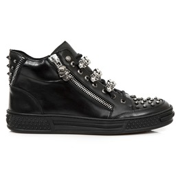 New Rock Shoes Men's Black Urban Zipped And Studs Shoes W/ Skull Chains
