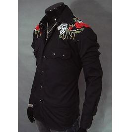 Skull Shirt Punk Rock Black Long Sleeve Mens New Retro Men Hi Quality